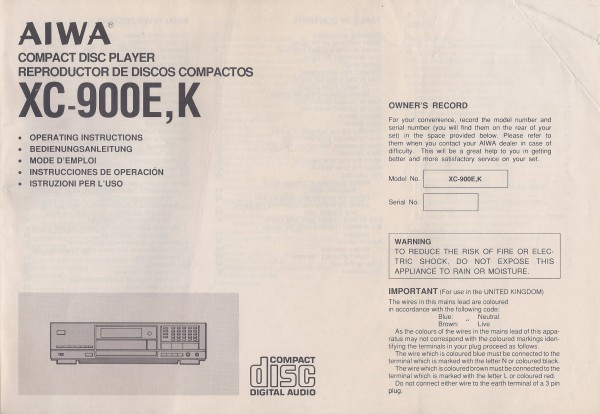 Aiwa XC-900E / K Bedienungsanleitung