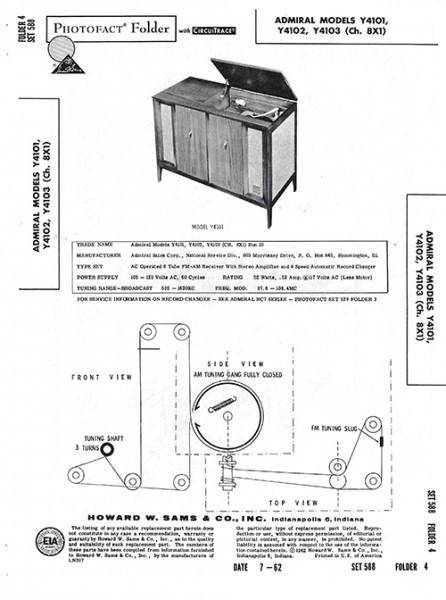 Admiral Y4101, Y4102, Y4103 - Photofact - Schematic Set 588/Folder 4