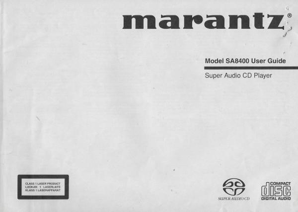 Marantz SA8400 Bedienungsanleitung