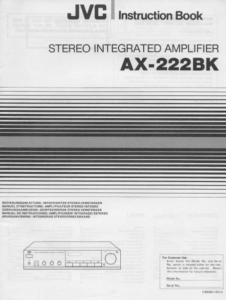 JVC AX-222BK Bedienungsanleitung