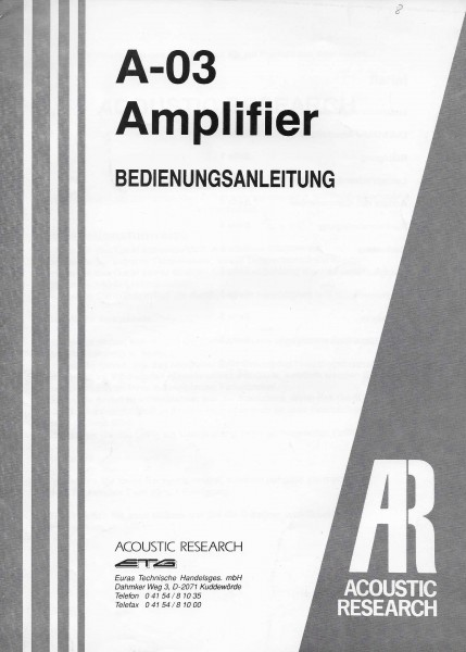 Acoustic Research A-03 Bedienungsanleitung