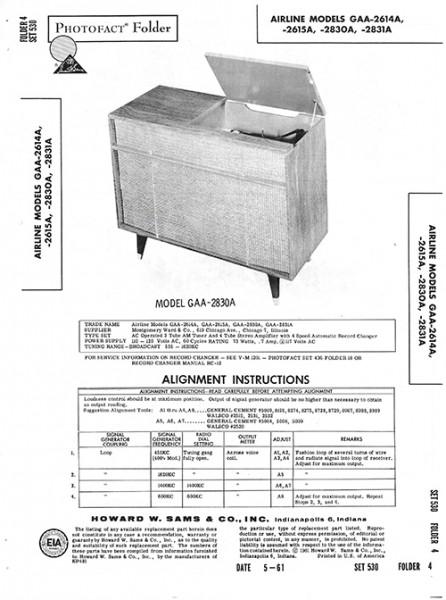 Airline GAA-2614A, -2615A, -2830A, -2831A - Photofact - Schematic Set 530/Folder 4