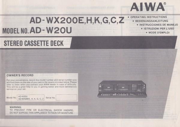 Aiwa AD-WX200E / H / K / G / C / Z Bedienungsanleitung