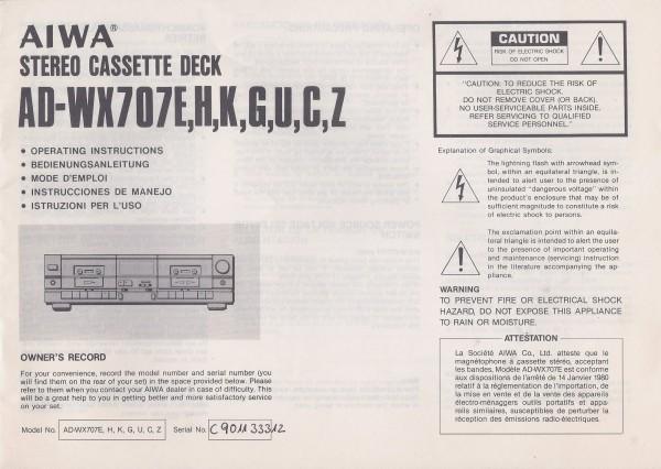 Aiwa AD-WX707E / H / K / G / U / C / Z Bedienungsanleitung