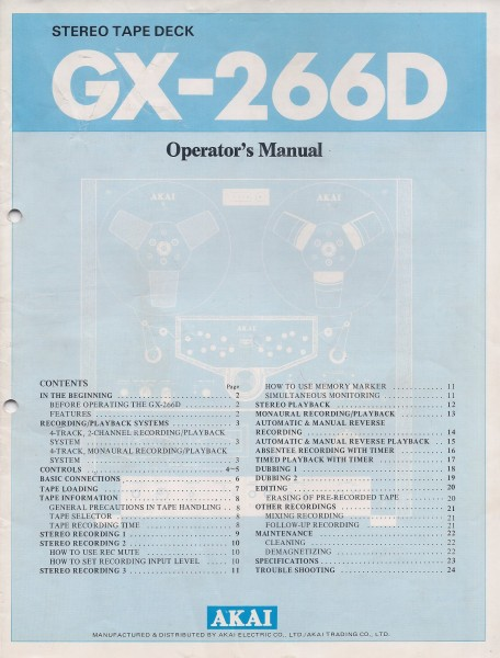 Akai GX-266D Bedienungsanleitung