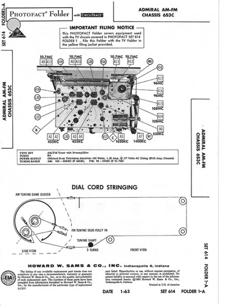 Admiral AM-FM Chassis 6S3C - Photofact - Schematic Set 614/Folder 1-A
