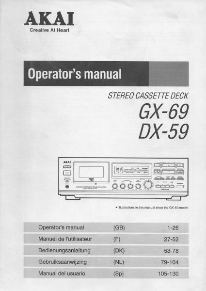 Akai GX-69 / DX-69 Bedienungsanleitung
