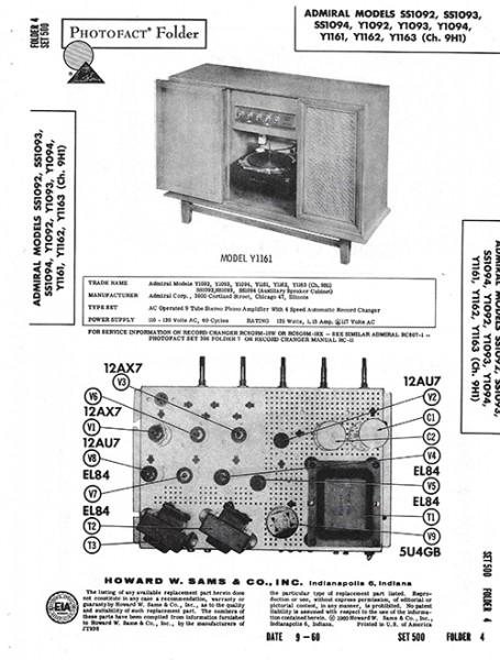 Admiral SS1092, SS1093, SS1094, Y1092, Y1093, Y1094, Y1161, Y1162, Y1163 - Photofact - Schematic Set