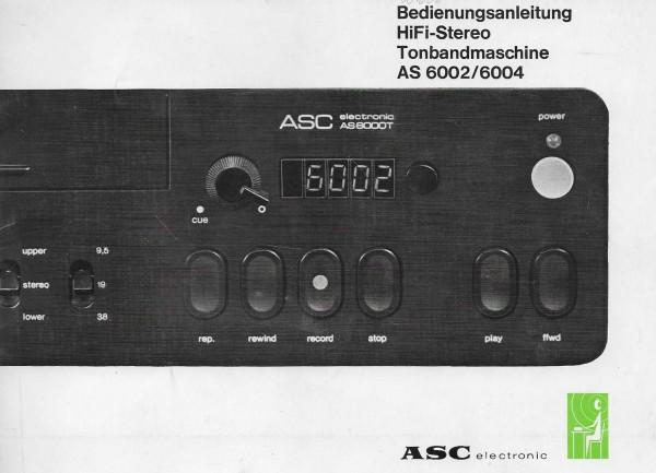 ASC AS 6002 / AS 6004 Bedienungsanleitung